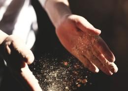 powder on hands