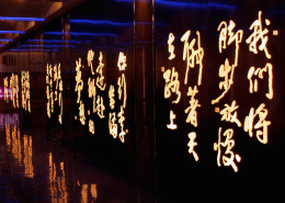 chinese characters lit up